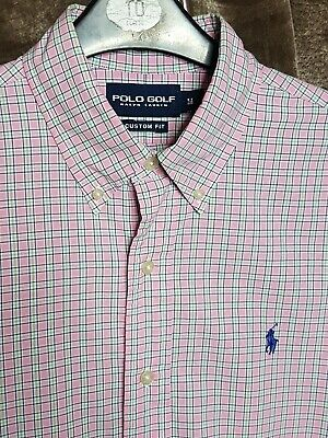 Polo By Ralph Lauren Golf Mens Shirt Pink White Blue Checked Medium Long Sleeve