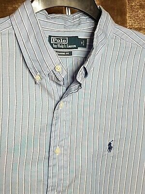 Polo By Ralph Lauren Mens Shirt Blue White Stripe Xxl Long Sleeve