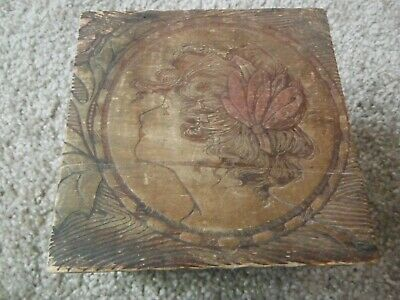 Pyrography Arts Crafts Wood Burned Trinket Jewelry Box Vintage 4.5 x 5 Hinged