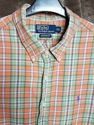 Polo By Ralph Lauren Mens Shirt Orange Green Checked Xxl Long Sleeve