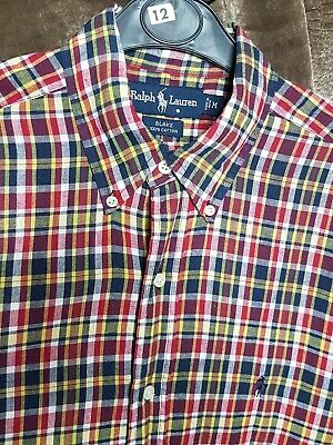 Polo By Ralph Lauren Mens Shirt Red Blue Yellow Checked Medium Long Sleeve