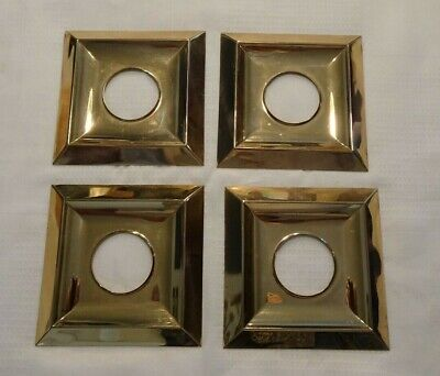 "VINTAGE  DOOR ESCUTCHEON 5-5/8"" SQUARE fin: BRASS"