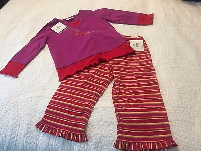 NWT Hanna Andersson Purple and Red Shirt and Striped Capri Pants Set Size 100