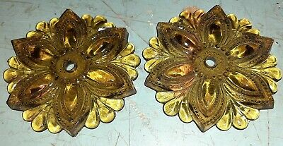 """Large 3.5"""" Light Amber Pressed Glass Floral Curtain Tie Backs"""