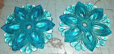 "Large 3.5"" Light Blue Pressed Glass Floral Curtain Tie Backs"