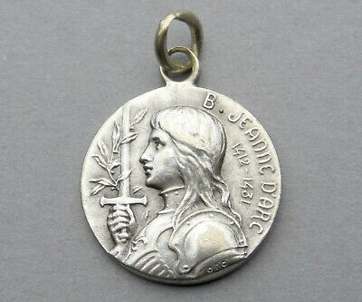 Saint Joan of Arc / Jeanne d'Arc. Antique Religious Pendant. French Medal.