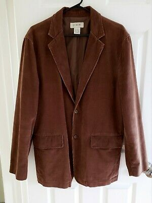 J CREW Men's 2-Button Brown Corduroy Blazer Jacket 100% Cotton Size M EUC