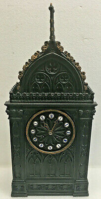 Antique 1840 French Silk Thread Cathedral Style Mantel Clock