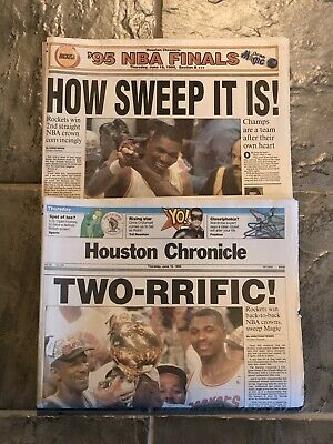 1995 Houston Rockets NBA Champions Basketball Newspaper