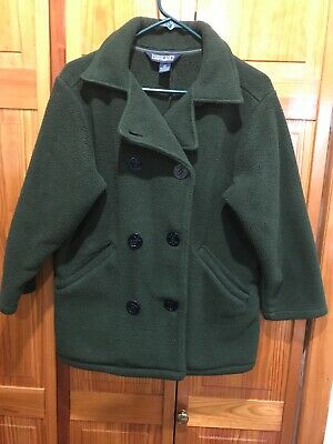 Lands' End Double Breasted Kids Fleece Olive Green Pea Coat - Size M 10-12