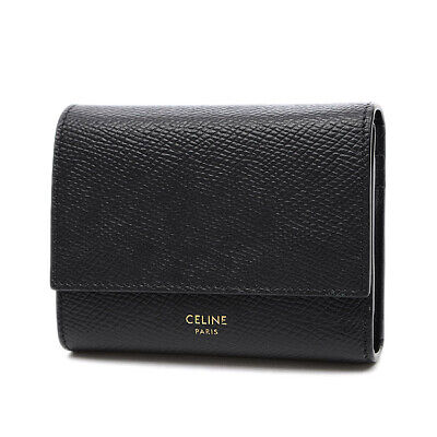 CELINE Leather Small Trifold Wallet Tri-Fold Wallet Black 10B573 Free Shipping