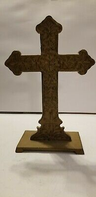 "Heavy Cast Iron Brass/Bronze Finish Cross Crucifix Table Top Mantle 8"" X 4"" Ornt"