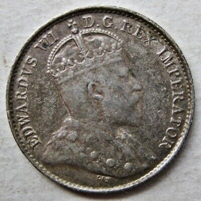 Decent Canada 1905 King Edward Vii Silver Five Cents Coin (Km#13)