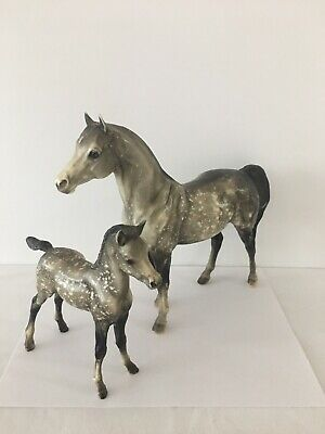 Vintage Bryer Molding Co Appalossa Horse Mare & Foal Colt Figurines Glossy