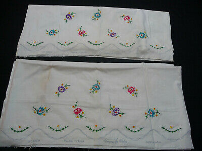 Vintage Vogart Floral Embroidered Pillowcases Ready to Finish Edging