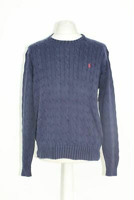 POLO BY RALPH LAUREN Men's Polo Navy Cable Knit Crew Neck Cotton Jumper Size L