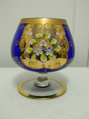 Beautiful Vintage Hand Decorated Cobalt Blue Bohemian Czech Moser Compote~