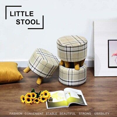Luxury Padded Footstool Ottoman Round Pouffe Upholstered Stool Solid Wooden Legs