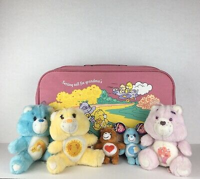Vtg 80s Care Bear Lot Small Pink Luggage Funshine Share and Wish Bear Mini Plush
