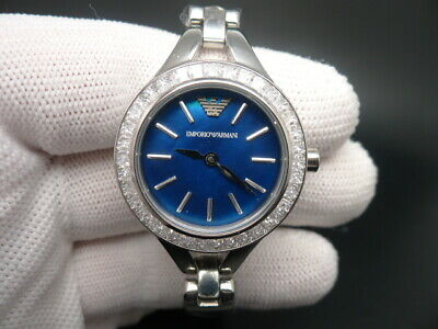 New Old Stock Emporio Armani Ar7330 Blue Face Stainless Steel Quartz Women Watch