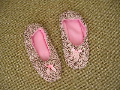 Bnwot Childrens Ladies Cosy Pink Brown Heart Soft Grip Sole Slippers With Bow- 5