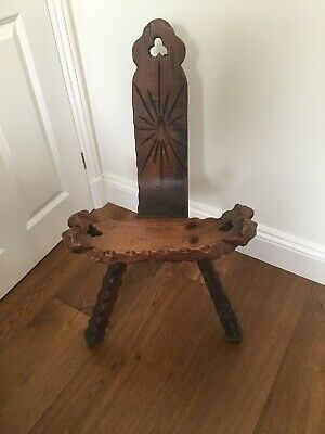 Vintage Birthing/milking Stool 3 Legs, Hand Carved.