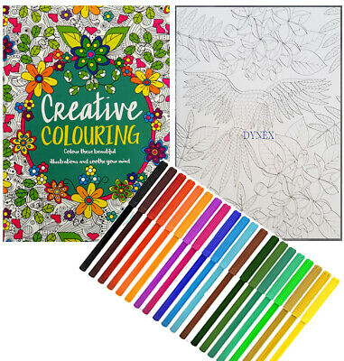 Creative Therapy - Adult Colouring Book A4 - Anti-Stress + 20 Felt Tips