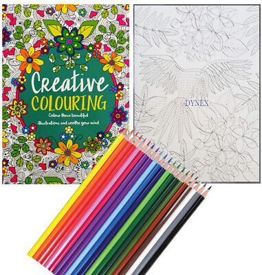Creative Therapy - Adult Colouring Book A4 - Anti-Stress + 20 Colouring Pencils