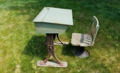 Antique School Desk with Chair