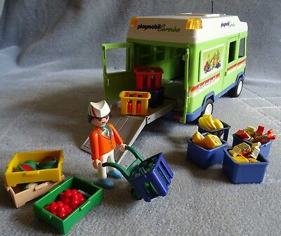 Playmobil City Life Supermarket, Grocery Delivery Van + Accessories Complete VGC