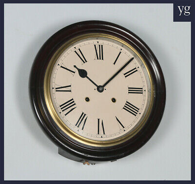 "Antique 16"" Seikosha Mahogany Railway Station / School Round Dial Wall Clock"