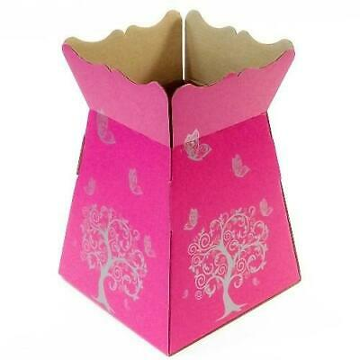 Hot Pink -Tree Butterfly - Living Vase - Florist Bouquet Box Flower Sweet Boxes