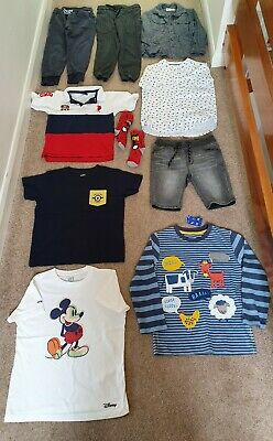 Boys age 5-6 clothes bundle 10 items inc river island & next, minions, mickey