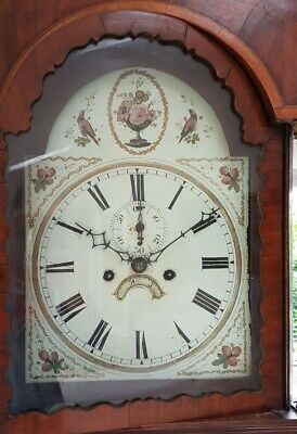 Antique 8 Day Grandfather Clock Painted Dial Longcase Clock in Mahogany Case