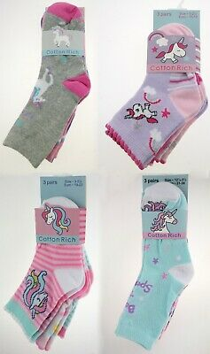 3pp Girls Baby Unicorn Socks Cotton Rich 3 Pack Novelty Glitter