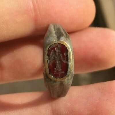 Superb Ancient Roman Silvered Intaglio Ring / Goddess Nike - Victory - 300 Ad