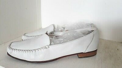 Women's White Leather Loafers Vibram Sole Size 5 UK 38 EU