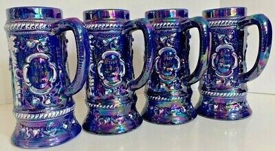 Vintage German Blue Glazed Beer Steins  0.5L Set of 4 Unique Excellent Condition