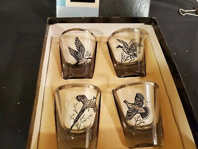 Vintage Federal Glass Sportsman's Rumpus Set of 4 Shot Glasses Game Birds w/Box
