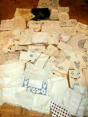 62 pc lot Hand Embroidered Vintage Antique Linens~CUTTER~Craft Lot