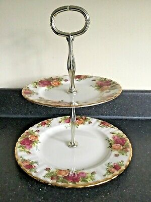 Royal Albert Bone China Old Country Roses Two Tier Cake Stand - Free P&P