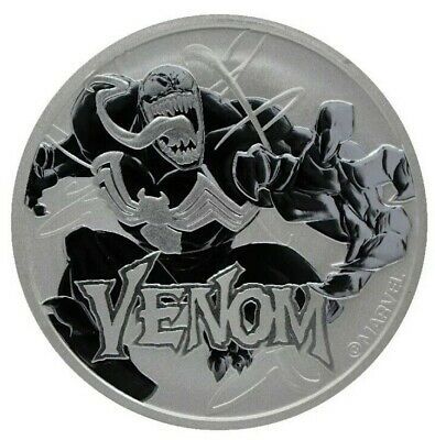 2020 Tuvalu Venom 1 Oz Silver .9999 fine Marvel Series $1Gem BU in Capsule