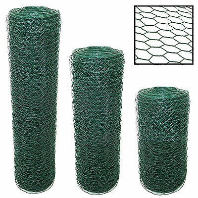 PVC Coated Chicken Wire Rabbit Mesh Green Fencing Aviary Fence 25M 50M 3 widths