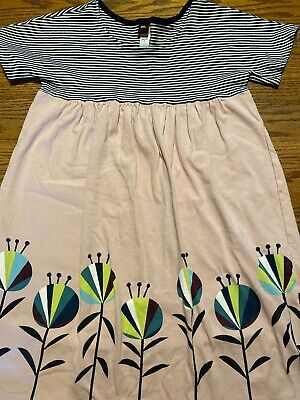 Tea Collection Girls Size 8 Floral, Striped Print Short Sleeve Dress