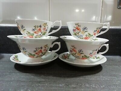 Aynsley cottage garden tea cup and saucer x 4