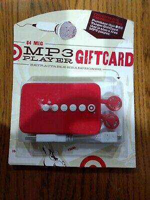 64 Meg Mb Mp3 Player W/ Retractable Headphone Target Gift Card No Value