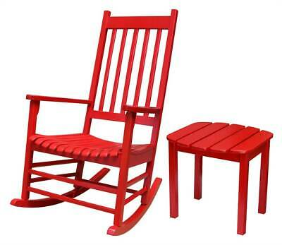 2-Pc Outdoor Wooden Porch Rocker Set in Red [ID 3934538]
