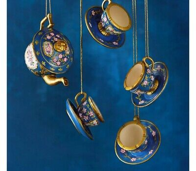 The Met  TEA SET Blue Ornaments Miniature 19th Century France Hand Painted New