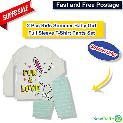 Kids Baby Girl Full Sleeve T-Shirt Pants Set Toddler Cloth Outfits Tops - 2 Pcs