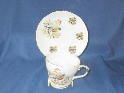 Vintage DUCHESS England Bone China Bird & Berry Pattern Tea Cup & Saucer